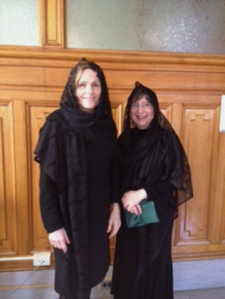 "Paula Trief, PhD (left), and Ruth Weinstock, MD, PhD, in costume for the movie ""Irrefutable Proof."""