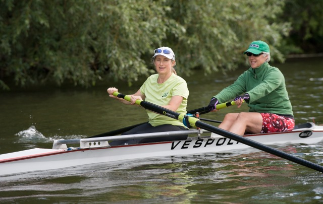 Jennifer Moffat, PhD (front), with rowing partner, Mindy Holgate. Moffat is an associate professor of microbiology and immunology at Upstate.