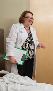 Brain injury medicine specialist Bernadette Dunn, MD, sees many of her patients in the neurological intensive care unit at Upstate University Hospital, a key feature of what is Central New York's first and only comprehensive stroke center. The neurological ICU offers three levels of care for stroke patients, staffed by nurses with specialized training and credentials.