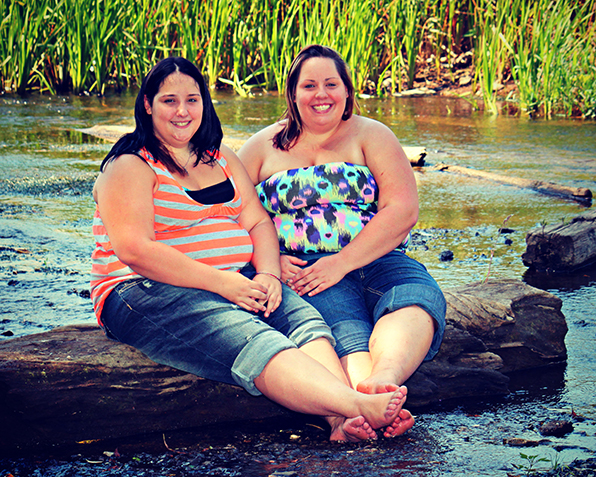 Sisters Cherica and Nicole Hoistion before bariatric surgery.