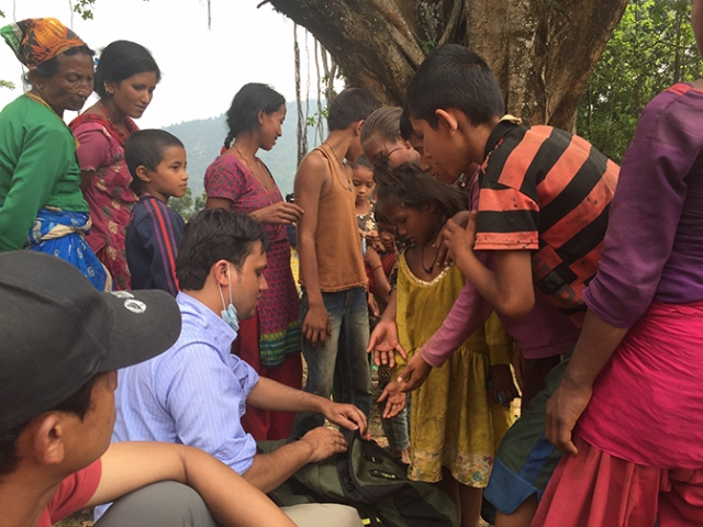Subedi helps survivors in Majhigaun, a village in northwestern Nepal. The Upstate doctor said he hopes to return to Nepal to help with the rebuilding effort. (PHOTO COURTESY OF DINESH SUBEDI, MD)