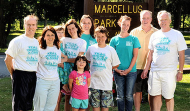 The O'Hara family at the run/walk to raise money for ovarian cancer research.