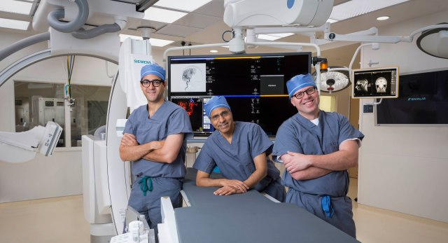 (From left) Hesham Masoud, MBBCh, Amar Swarnkar, MD, and Grahame Gould, MD, are colleagues at Upstate. (PHOTO BY ROBERT MESCAVAGE)