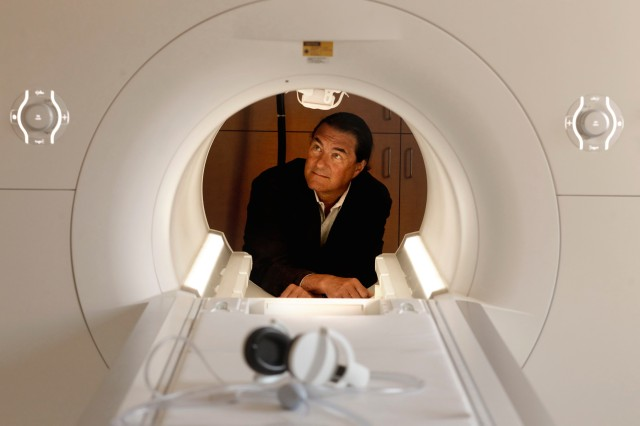 July 24, 2012 - San Francisco, California, United States: Dr. Michael Weiner, director of the San Francisco Veterans Affairs Medical Center for Imaging of Neurodegenerative Diseases, with the center's 3 Tesla Siemens Skyra MRI scanner, at the hospital. The imaging capabilities at the Veterans Health Research Institute, make it possible for the VA center to do leading research on Alzheimer's, aging veterans and Post Traumatic Stress Disorder. (Michael Macor/San Francisco Chronicle/Polaris) ///