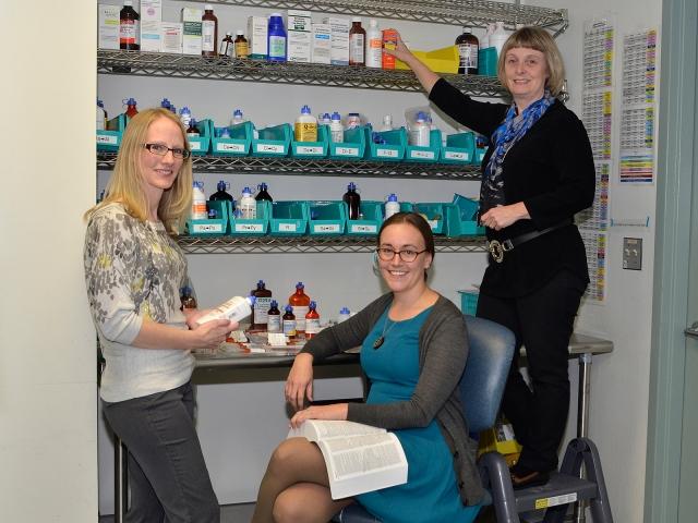 Pediatric pharmacists Kelly Steidl, Jeni Burgess and Meg Anderson. (PHOTO BY DEBBIE REXINE)