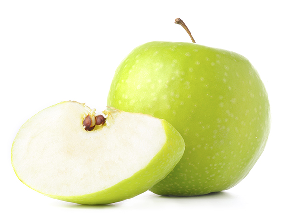 green apple and it's slice isolated on white