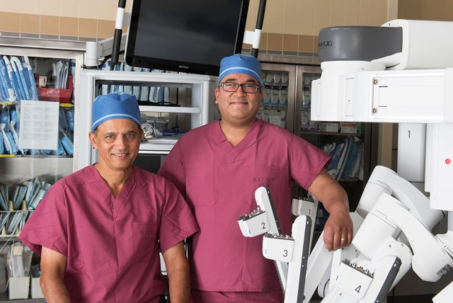Upstate hepatobiliary surgeons Dilip Kittur, MD (left), and Ajay Jain, MD. (PHOTO BY SUSAN KAHN)