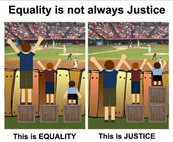 This image, comparing equality and justice, hangs in Thompson's office at Upstate.