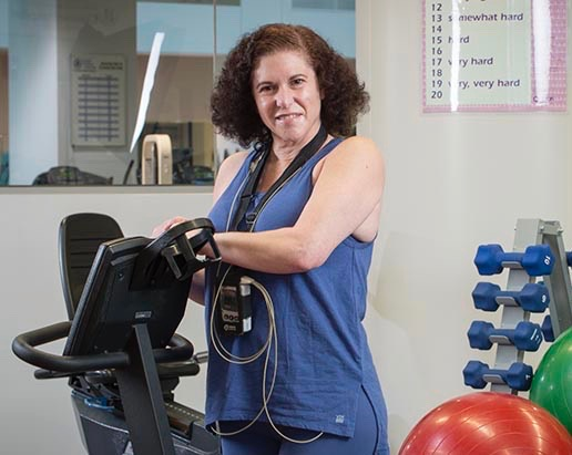 Debra Becker at the Cardiac Rehabilitation program at Upstate's Institue for Human Performance. (PHOTO BY ROBERT MESCAVAGE)