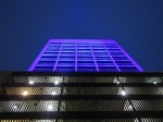 Jefferson Tower in blue light