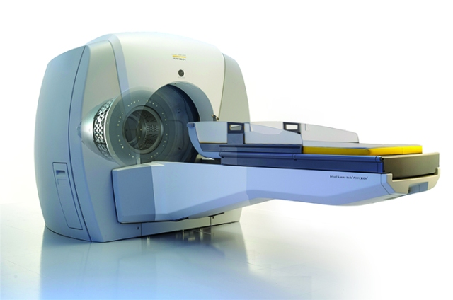 Exterior view of the gamma knife, a device that is designed to deliver high doses of radiation to targeted areas of the brain without damaging surrounding tissue.