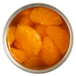 Open can of mandarins in light syrup.