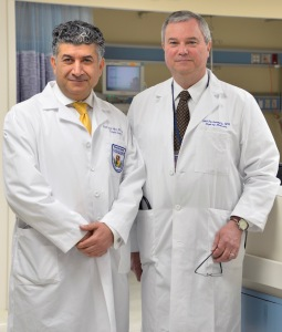 Mark Laftavi, MD (left). and Oleh Pankewycz, MD (right), were recruited by Gruessner to be the surgical director and medical director, respectively, of Upstate University Hospital's pancreas transplant program. The two men previously directed the transplant program at the Erie County Medical Center, the teaching hospital for the University at Buffalo Jacobs School of Medicine. (PHOTO BY DEBORAH REXINE).