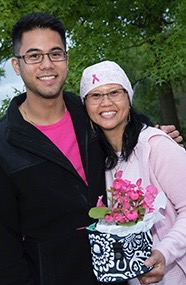 "Cancer survivor Virginia ""Gigi"" Castro and her son, Marc."
