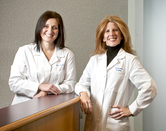 The Upstate Cancer Center will soon provide the services of four breast surgeons, including Mary Ellen Greco, MD (left), and Kristine Keeney, MD (right). In the accompanying article, Keeney discusses the role of fellowship training specifically for breast cancer and disease. (PHOTO BY ROBERT MESCAVAGE)
