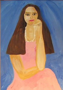 Shelly's self-portrait at age 12, before she got sick and lost her hair.