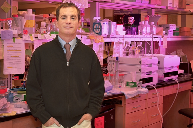William Kerr, PhD, in his lab at Upstate. (PHOTO BY WILLIAM MUELLER)