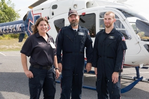 Paramedic Pamela Jones with flight nurse Rod Kester and flight paramedic Jeff Simons.