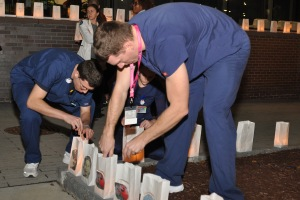 Luminaries decorated the front of the Upstate Cancer Center during the vigil.