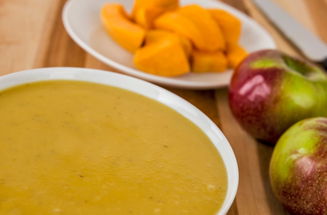 Acorn Squash and Apple Soup offers a soothing dish designed to be easily eaten by those with mouth sores or sensitive stomachs due to cancer treatment.