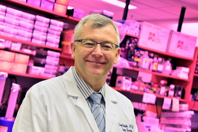 Leszek Kotula, MD, PhD, in his lab. He is one of Upstate's researchers who seeks to benefit cancer patients with advancements in diagnostic and treatment options (PHOTO BY WILLIAM MUELLER)