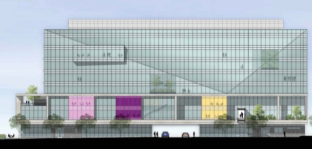 A drawing of the planned Upstate Health and Wellness Center, as viewed from East Adams Street. The eight-story building will rise on what is now a parking lot across the street from the Upstate Cancer Center. (ARCHITECTURAL RENDERING COURTESY OF STANTEC)