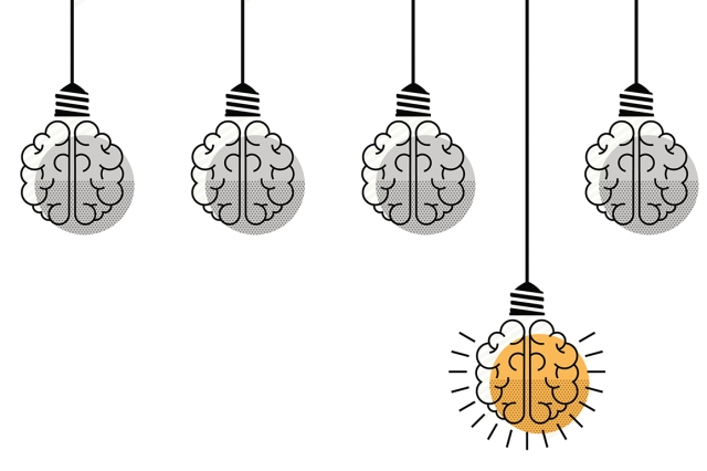 cartoon of brains as lightbulbs