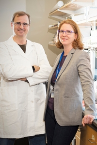 Michael Zuber, PhD, and Andrea Viczian, PhD. (PHOTO BY WILLIAM MUELLER)