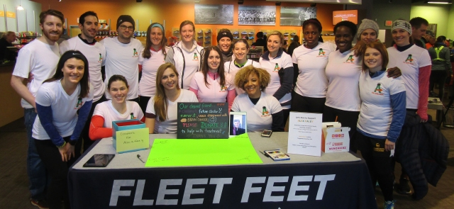 Upstate medical students set up a fundraising run and crowdfunding site for their classmate, Alex Paley, who has a brain tumor. Front row: Gabrielle Ritaccio, Kathryn Conway, Victoria Fairchild, Kathleen Donovan, Samantha La Qua. Standing: Peter Congelosi, Daniel Santarsieri, John Lofrese, Mckinzie Neggers, Mary Powers, Emily Kellogg, Caitlin Nicholson, Caroline Shank, Omazonna Amadi, Larissa Assam, Emily Malavenda, Danielle Faivus, Katie Patrick. (Photo by Susan Keeter.)