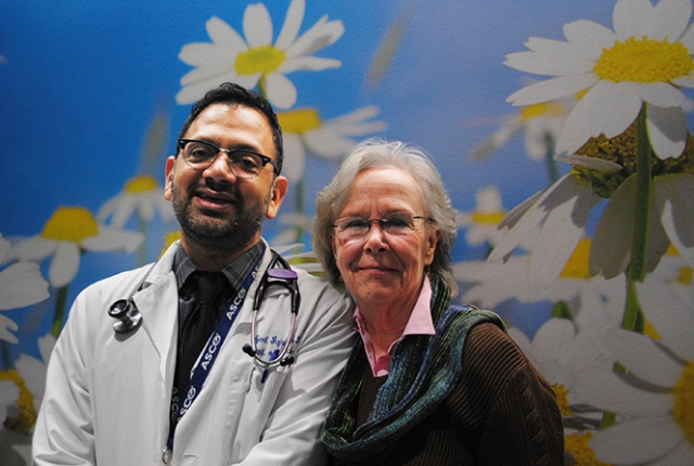 Upstate oncologist Ajeet Gajra, MD, and his patient Patricia Kranbuhl.