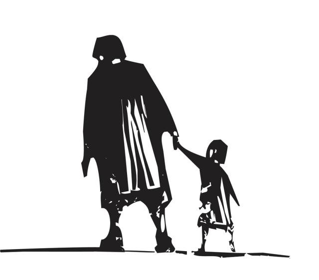 illustration of old woman and child