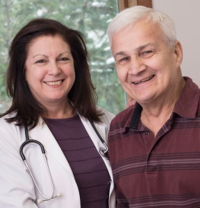 Oncologist Teresa Gentile, MD, PhD, with Durr, her patient, at the Upstate Cancer Center office in Oneida. Upstate oncologists have been treating patients in Oneida for 25 years.