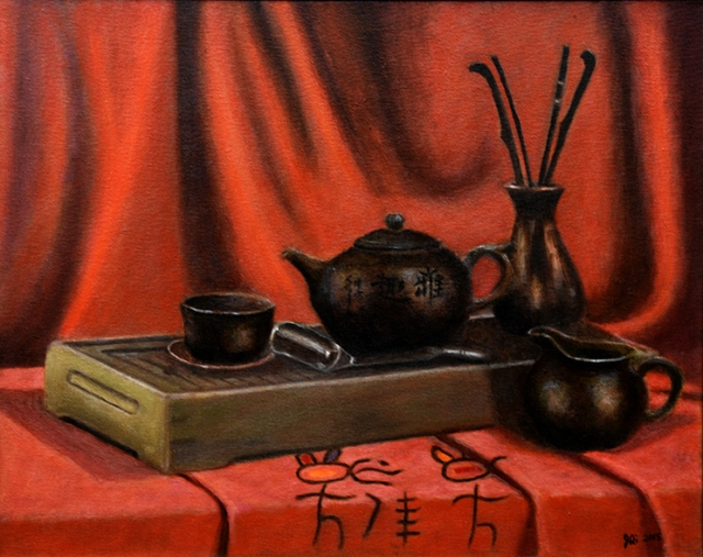 """This oil painting, """"Chinese Tea Set,"""" by Joyce Yue Qi, was used on the brochure for CNY Arts' """"On My Own Time"""" exhibition of works by employees of local businesses and organizations."""