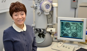 Qi often uses an electron microscope as part of her job in Upstate's pathology department.