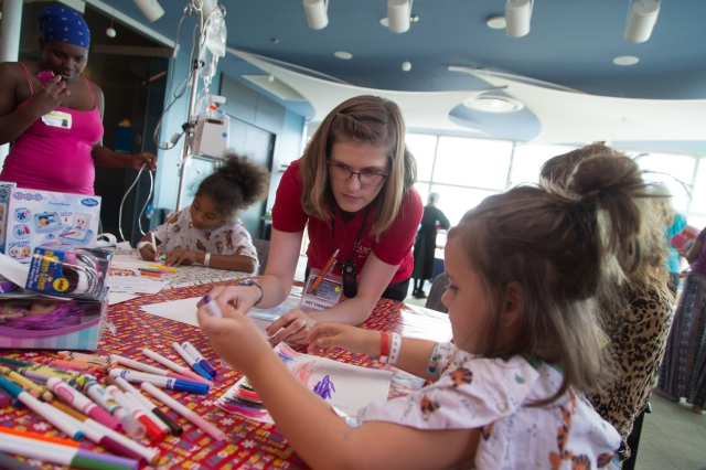 "Fazzini hosts various art therapy group events, such as this ""Christmas in July"" project in the performance center that let children design holiday cards."