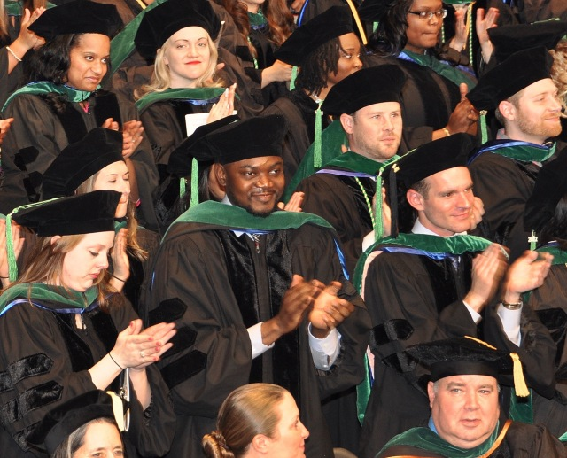 Upstate College of Medicine's Class of 2017 at graduation ceremonies in the John H. Mulroy Civic Center in Syracuse. (PHOTO BY RICHARD WHELSKY)