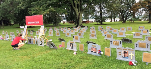 """A makeshift """"cemetery"""" at Onondaga Lake Park was set up in August by a surviving family members who lost someone to a drug overdose. Each tombstone represents someone who died from a drug overdose. (PHOTO BY RICK MORIARTY/SYRACUSE MEDIA GROUP)"""