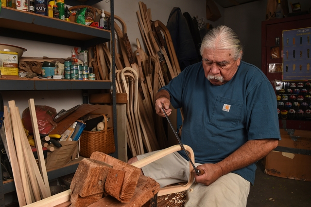 Jacques in his workshop on the Onondaga Nation territory, south of Syracuse. (PHOTO BY JOHN BERRY)
