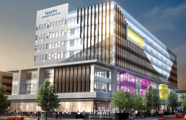 A rendering of the planned Nappi Longevity Institute at Upstate Medical University. The facility will be built across East Adams Street from the Upstate Cancer Center.