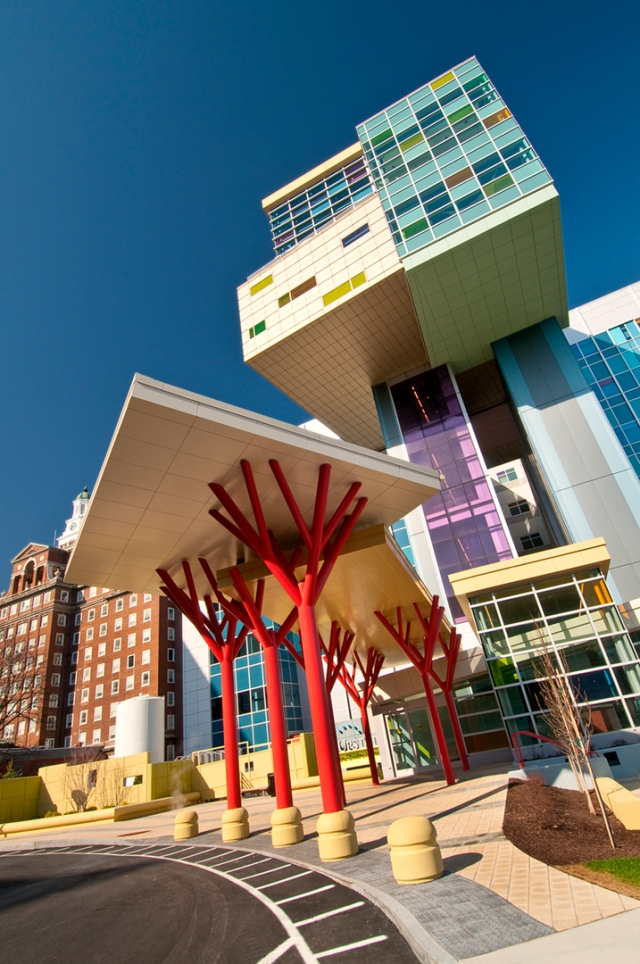 The entrance to the Upstate Golisano Children's Hospital.