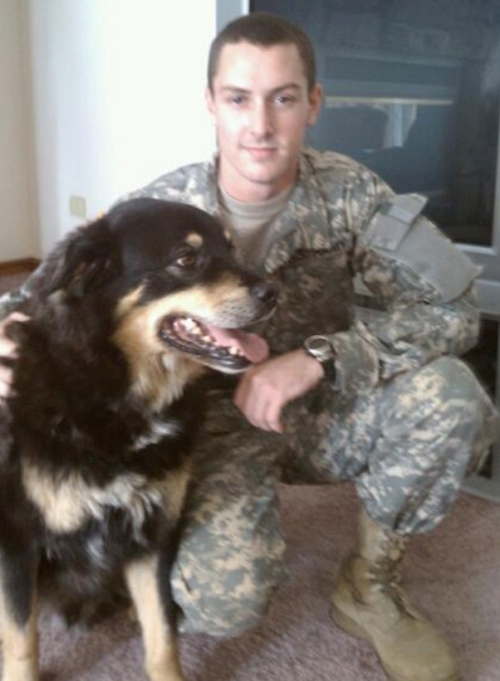 Joseph Michael Chubbuck with his dog, Shadow, in May 2011. Shadow was battling cancer at the time this photo was taken and died in 2012, whileChubbuck was in an intensive care unit fighting his own cancer.