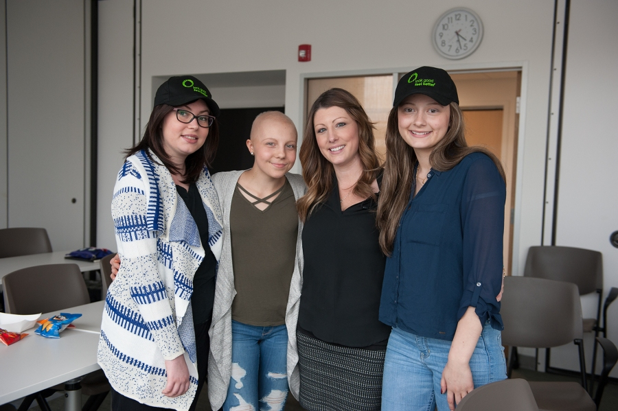 "Upstate oncology nurse Kristen Thomas, second from right, helped make Upstate the first site in New York state to host ""Look Good Feel Better for Teens."" She is pictured with three of the young women who took part in the first program. From left: Artesia Gjoncari, 20, of Syracuse; Taylor Way, 15, of Cuyler; Thomas; and Amanda Wilson, 16, of Tully. (PHOTO BY SUSAN KAHN)"