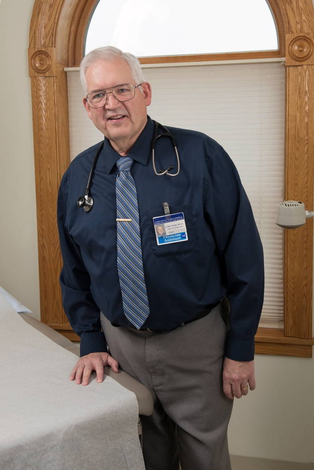 Gary Engle is a physician assistant in Lyons Falls and a voluntary preceptor, or trainer, for Upstate's College of Health Professions. (PHOTO BY SUSAN KAHN)