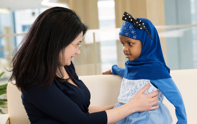 Pediatric oncologist Amy Caruso Brown, MD, with Fahima Farah. (photo by Susan Kahn)