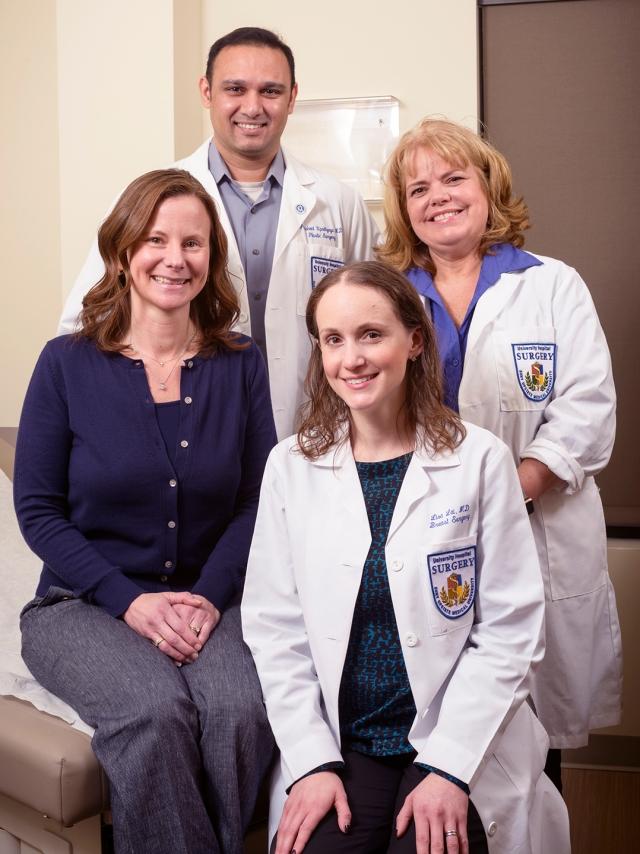 Clockwise from left: Jordan Bruna, Prashant Upadhyaya, MD, nurse practitioner Tammy Root and Lisa Lai, MD. (photo by Robert Mescavage)