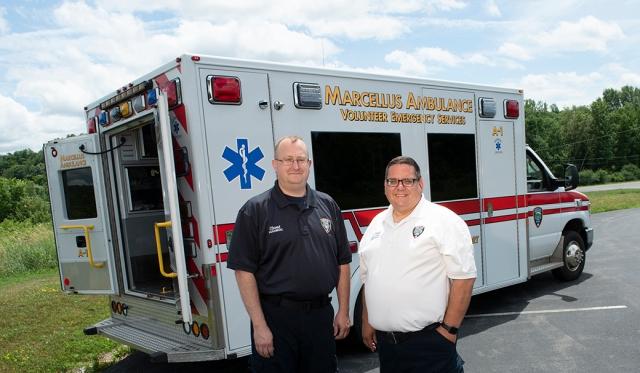 Jeff Elwood and Stephen Knapp of Marcellus Ambulance (photo by Susan Kahn)