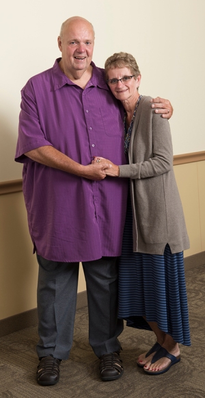 "Graham, shown here with his wife, says, ""Without Dr. Bratslavsky and Dr. Upadhyaya and the team of people working with them, I wouldn't be here today."""