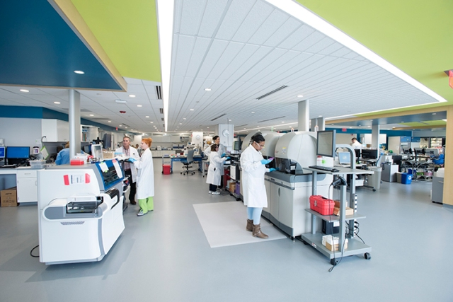 Upstate's new Clinical Pathology Laboratory is on the fifth floor of the cancer center.