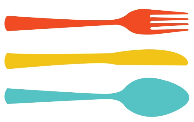 illustration of fork, knife and spoon