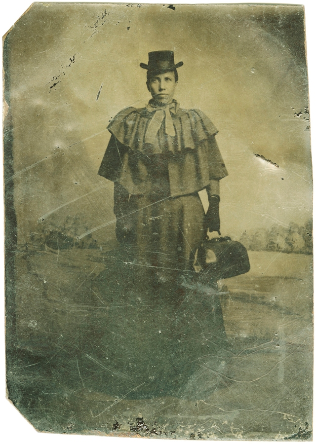 """Is this Sarah Loguen, MD, class of 1876? This 3 3/8-inch tintype was published in John Ravage's book, """"Black Champions"""" (University of Utah Press, 2002) and is in the collection of the National Museum of African American History and Culture, part of the Smithsonian Institution."""